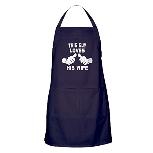 CafePress - This Guy Love His Wife Apron (Dark) - 100% Cotton Kitchen Apron with Pockets, Perfect Grilling Apron or Baking Apron