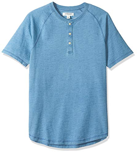 - Goodthreads Men's Short-Sleeve Indigo Henley, Light Wash, Medium