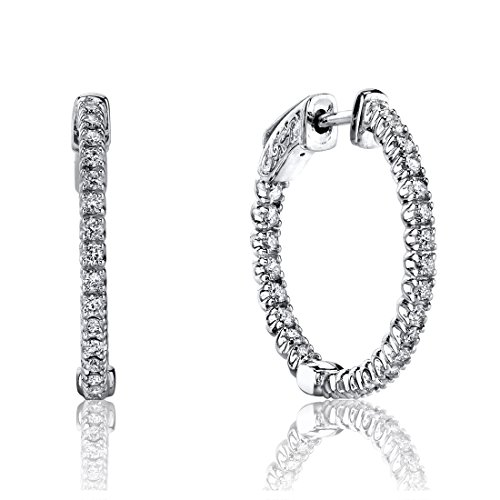 1.00 Cttw Round Diamond 18K White Gold Prong-Set Hoop Earrings Patented Lock