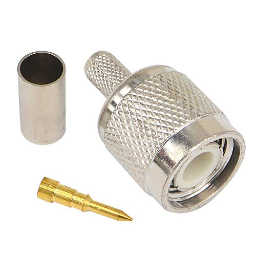TNC Male Plug Crimp for RG58 RG142 RG400 RFC195 Cable RF Coaxial Connector Pack of ()