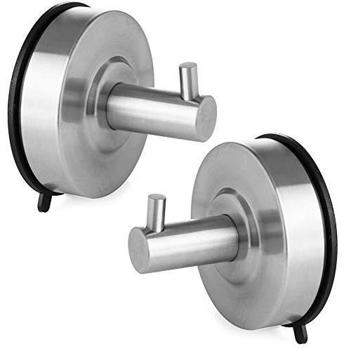 ShineMe 304 Stainless Steel Suction Cup Hook Single Coat Hook Removable Bathroom Shower Towel Hook Kitchen Wall Hook Strong Heavy Duty Contemporary Style, Brushed Finish-Silver (2 PCS)