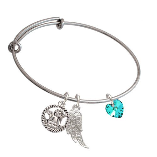 Crystal Teal Heart Angel Expandable Bangle Bracelet