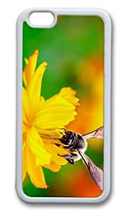 MOKSHOP Adorable bee nectar flower Soft Case Protective Shell Cell Phone Cover For Apple Iphone 6 (4.7 Inch) - TPU White