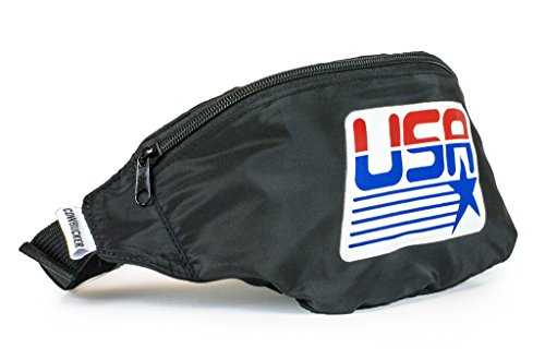 Cowbucker, USA Fanny Pack with Bottle Opener Carabiner, 80s Style Travel Waist Pack (Olympic Black)