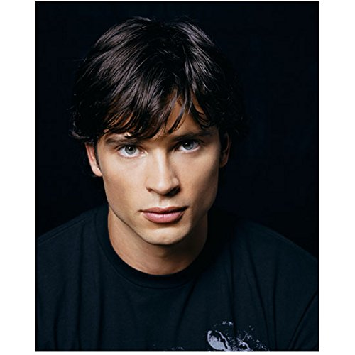 Tom Welling in black graphic shirt facing camera facing forward in darker tone 8 x 10 Inch - Forward Tom