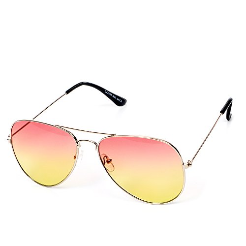 Reflet CE Aviator Hommes gelb Lunettes Style Gold getönt EYES 3 Unisexe orange ou teinté rétro UV400 teinté Norme by Femmes ON Couleur CAT soleil de rosa Or ME q66xYz