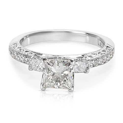 BRAND NEW Tacori 3 Stone Princess Cut Diamond Engagement Ring in 18K White Gold ()