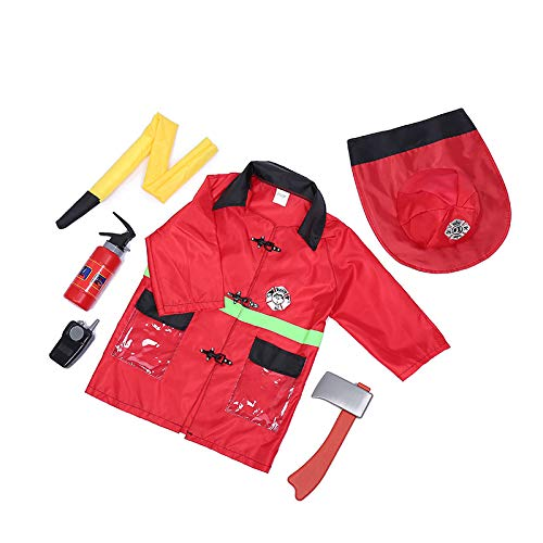 TOPTIE 5 Sets Role Play Costume for Kids Policeman Fire Chief Engineer with Accessories Blue