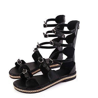 LvYuan Mujer-Tacón Plano-Confort-Sandalias-Oficina y Trabajo Vestido Fiesta y Noche-PU-Negro Blanco Black