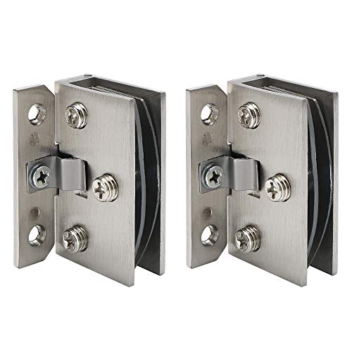 Alise 2 Pcs Glass Doors Hinge Cupboard Showcase Wine Cabinet Clamp Ambry Gate Hinges Replacement Parts,BL5001-2P Brushed Nickel