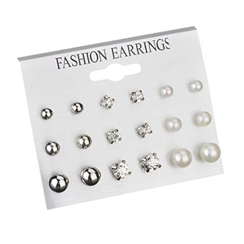 Fashion 9 Pairs Stud Earrings Crystal Pearl Round Ball Earring Set Stainless Steel Ear Stud Jewelry For Women Girls (Silver, alloy)