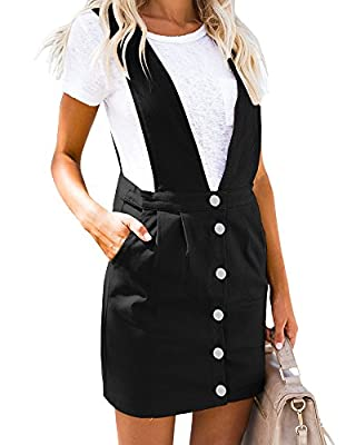 Geckatte Womens Suspenders Pencil Skirts Button Front Casual Mini Overall Dress Pockets