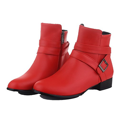Toe Red Low Closed Heels Pu Solid Round Women's Zipper WeenFashion Boots wqPBU81fx