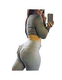 Women Butt Lift High Waist Yoga Leggings Ruched Activewear Pocket Skinny Pants