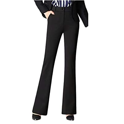 LKOUS Women's Stretchy High Waisted Wide Leg Button-Down Pants at Women's Clothing store