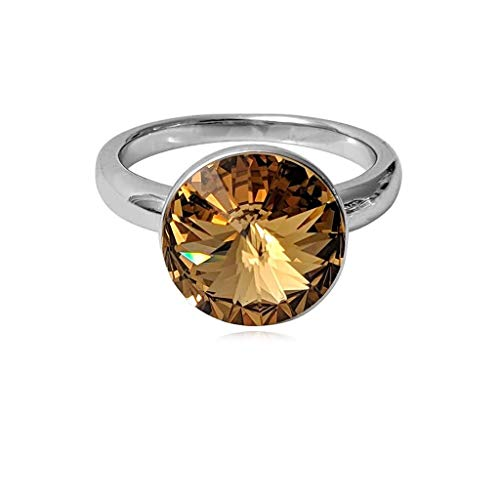 Golden Ring Swarovski - Olenata Rings for Women with Swarovski Golden Shadow Crystal - White Gold Plated Ring Size 7.5