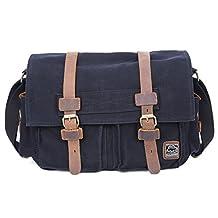 Vintage Canvas DSLR SLR Camera Messenger Bag, UBORSE Leather Shoulder Bag Laptop Bag for Men and Women, Black