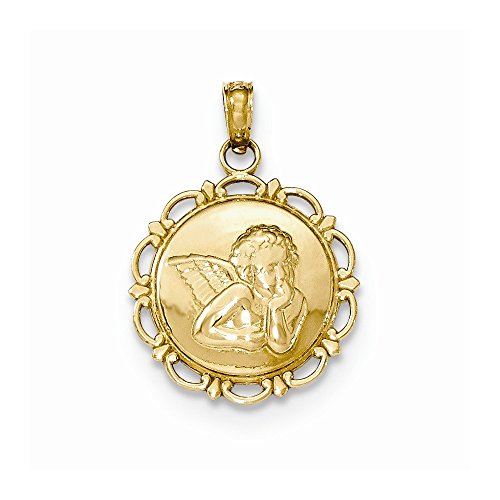 14K Yellow Gold Polished Angel Cherub on Round Scallop Frame -