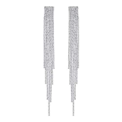 mecresh Extra Long Rhinestone Drop Earrings, Women's Sparkling Waterfall Fringe Tassel, Crystal Statement Studs Wedding Bridal Party