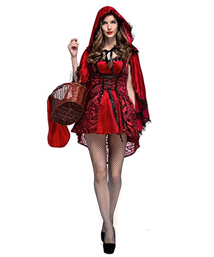 Women's Classic Red Riding Hood Costume,Red Dress and Hooded Cape,Medium ()