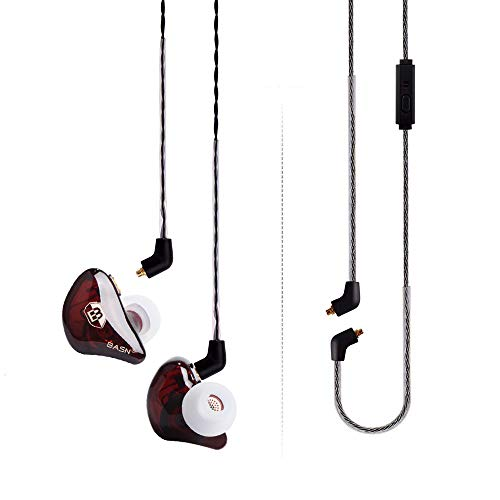 BASN Bsinger Pro in Ear Monitor Headphone Universal Fit Noise Cancelling Earphone for Musician Singer Band Studio Audiophile, Pro Red