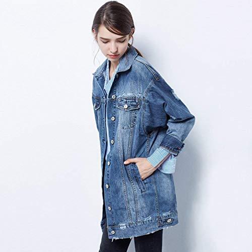 Giacca Sciolto Vintage Ragazza Jeans Giacche Lunga Casuali Primaverile Moda Donna Blau Cavo Cappotto Bavero Strappato Eleganti Chic Manica Outerwear Denim Autunno Ug61zw