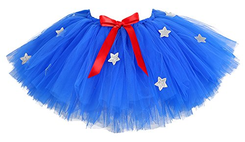 Tutu Dreams Super Hero Costume for Women Patriotic Blue Tutu Skirts Stars Adult Halloween (Free Size, Wonderwoman) ()