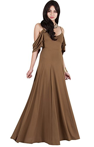 Viris Zamara Plus Size Womens Long V-Neck Short Sleeve Flowy Sexy Cold Shoulder Evening Cute Formal Cocktail Party Bridesmaid Wedding Party Dressy Gown Gowns Maxi Dress Dresses, Brown XL 14-16