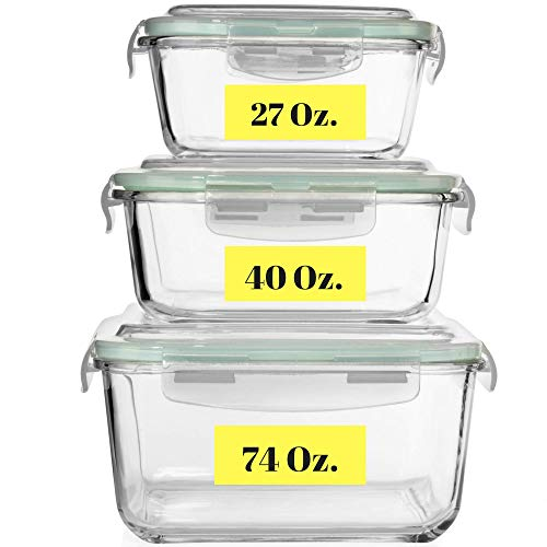 (Extra Large Glass Food Storage Containers with Airtight Lid 6 Pc [3 containers with lids] Microwave/Oven/Freezer & Dishwasher Safe. BPA/PVC Free X-Large/Large/Medium Size Reusable Square container set)