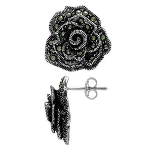 Marcasite Antique Finish 925 Sterling Silver Rose/Flower Post Earrings