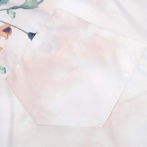 en Chemise Blouse Top Manches Blanc Femme Blouse Sweat Boutons Chemisier Blouse Longues Imprim Tunique Shirt Manches V Femme Femme Floral Col Longues Chemise Chemisier vqX7RXx