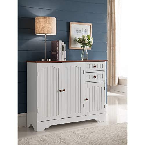 K and B Furniture Co Inc K and B Furniture Co White Wood Kitchen Storage Cabinet (Storage 12 Deep Cabinet)