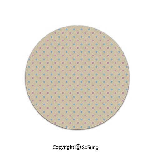 Polka Dots Round Area Rug,Retro Polka Dots Small Coin Sized Little Spots Old Epochs Fashion Pattern,for Living Room Bedroom Dining Room,Round 6'x 6',Cream Blue ()