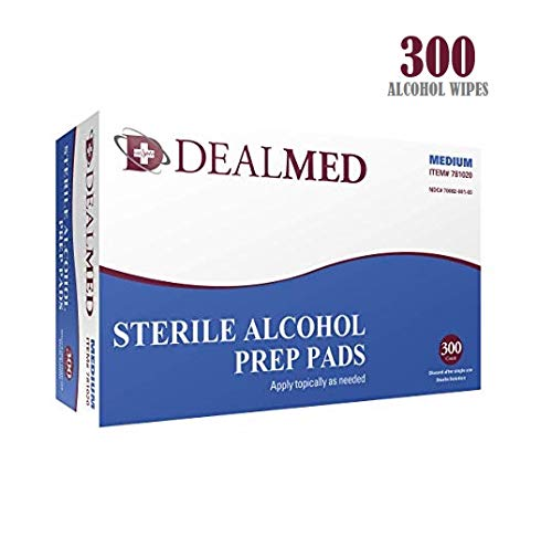 - Dealmed Sterile Alcohol Prep Pads, Antiseptic Latex-Free Wipes, Gamma Sterilized, 300 Count