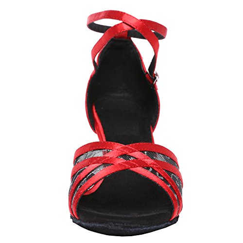 Shoes Dance Red Latin Female's Women's Akanu Salsa Shoes Ballroom Dance 7Rqa8ggBnx