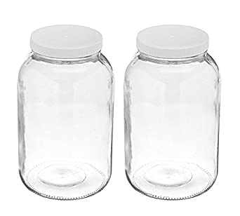 49f8daee3218 2 Pack ~ Wide Mouth 1 Gallon Clear Glass Jar - White Lid with Liner Seal  for Fermenting Kombucha / Storing and Canning / USDA Approved, Dishwasher  ...