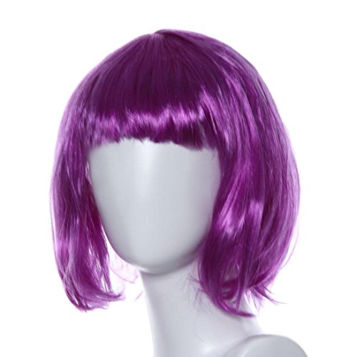 DEESEE(TM) Masquerade Small Roll Bang Short Straight Hair Wig cosplay wig (purple) (Costumes With Purple Hair)