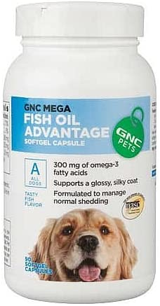 GNC Pets Mega Fish Oil Advantage for All Dogs – Fish Flavor 90 Softgel Capsules