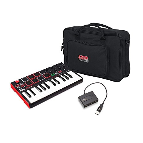 Akai Professional MIDI Drum Pad & Keyboard Controller with Joystick, Gig Bag for Micro Keyboards and Controllers,Gator Cases, AmazonBasics 4-Port USB