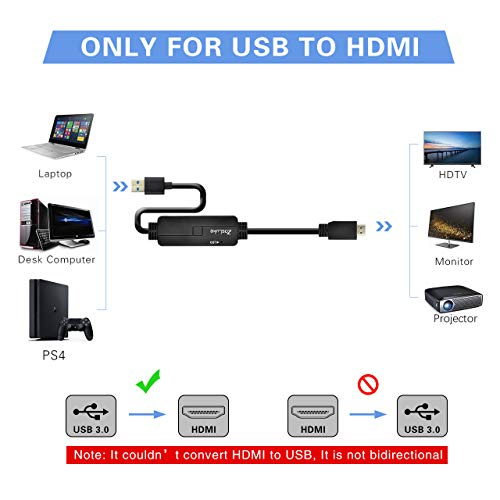 ZasLuke USB 3.0 to HDMI Cable,USB to HDMI Male to Male Converter/Adapter for Windows 10/8/8.1/7 PC & Mac (only Support Mac OS 10.11.6 & 10.12.6), NOT Support XP/Mac/Linux (6FT/2M, Without Audio) by ZasLuke (Image #1)