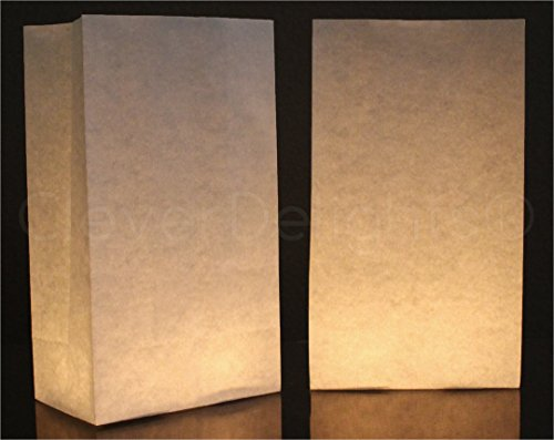 50 Pk - CleverDelights White Luminary Bags - Flame Resistant Paper - Wedding Christmas Holiday -