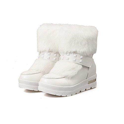 AgooLar Damen Mittler Absatz Blend-Materialien Mitte-Spitze Rein Ziehen auf Stiefel Weiß