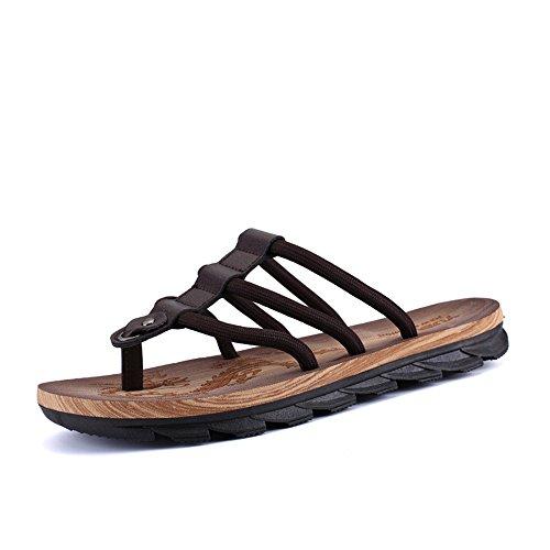 Newell Summer Men's Flip Flops Sandals Wood Slip Breathable Light Weight Beach Slippers,Brown,42