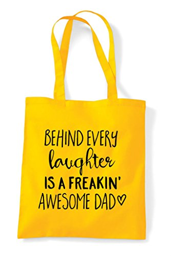 Laughter Shopper Behind Freaking Awesome Dad Family Yellow Tote Statement A Bag Is Every 65Fqx5wU