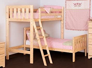 L Shaped 3ft Bunkbed Wooden High Sleeper Loft Bunk Bed With Single