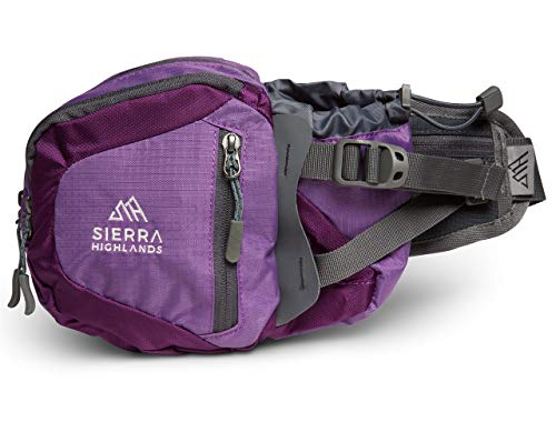 Sierra Highlands Marlette Hiking Fanny Pack Waist Bag with Water Bottle Holder/Carry Your Cell Phone, Sunscreen, Keys, Wallet, and More! (Purple) (Best Phone For Hiking)