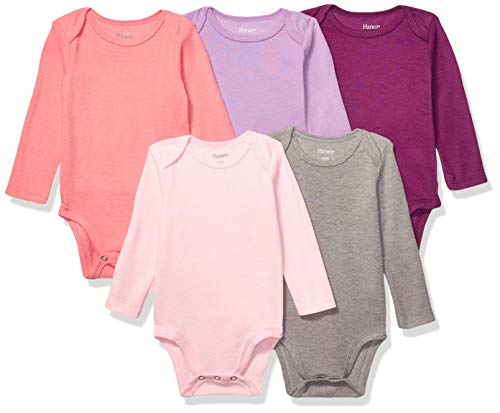 Hanes Ultimate Baby Flexy 5 Pack Long Sleeve Bodysuits, Purple/Pink, 6-12 Months