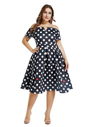 ge 1950s Flare Rockabilly Plus Size Cocktail Prom Dress Black Polkadot XXXL ()