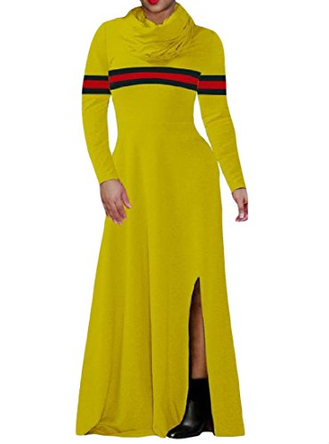 Coolred Dress Women Color Split Funnel Yellow Neck Maxi Long Solid Sleeve Long rrB64