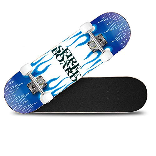 HLH-Fitness Equipment Durable Universal Road Street Professional Vitality Wheel Skateboard Double-Curved Four-Wheeled Skateboard Adult Children's Non-Slip (Color : Blue)
